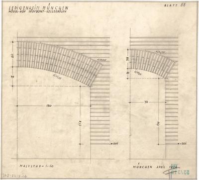 Fischer, Theodor; München - Westend, Bergmannstr.; Ledigenheim - Kellergoben Nordhof u. Südfront (Ansicht)