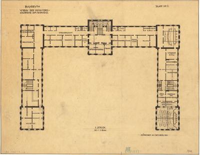 Fischer, Theodor; Bayreuth (Bayern); Rathaus (Umbau Infanteriekaserne) und Saalbau - Grundriss 1. OG