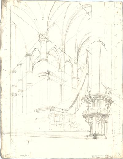 Bauernfeind, Gustav; Italien; Österreich; Schweiz; Studien- und Reiseskizzen - Dom in Mailand - Innenraum (Perspektive)