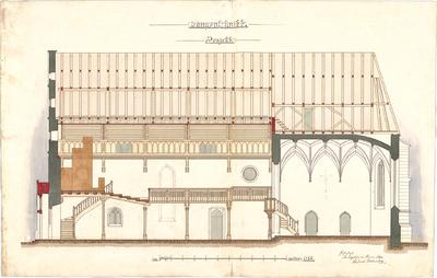 Dolmetsch, Heinrich; Unterjesingen; Ev. Pfarrkirche, Restaurierung - Längsschnitt