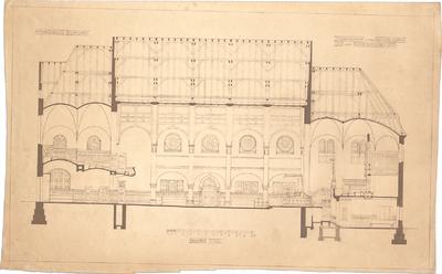 Dolmetsch, Heinrich; Stuttgart; Markuskirche - Betsaal, Schiff, Chor u. Konfirmandensaal (Längsschnitt)