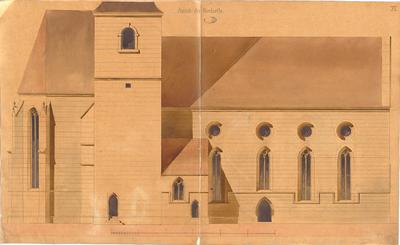 Leins, Christian Friedrich von; Besigheim; Ev. Stadtkirche, Restaurierung - Nordseite (Ansicht)