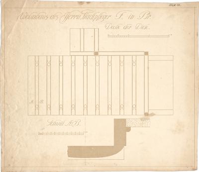 Dolmetsch, Theodor; Brackenheim; Haus Fender - Decke in der Diele (Detail, Schnitt)