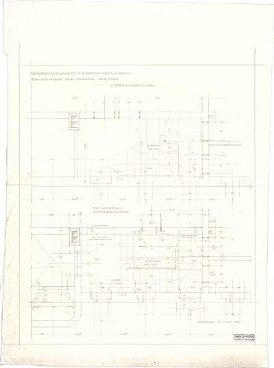 Littmann, Max; Bocksberg; Hofgut, Wohnhausanbau - Treppe (Grundriss EG, Grundriss 1. OG)