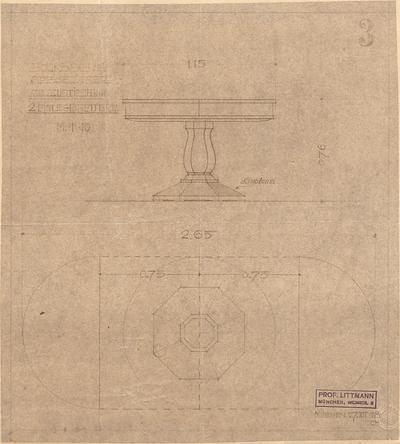 Littmann, Max; Bocksberg; Hofgut, Landhaus - Auszugtisch mit zwei Einlegebrettern im Speisezimmer (Grundriss, Ansicht)