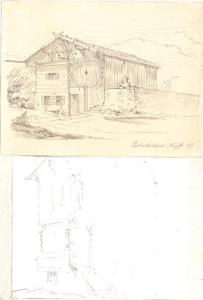 Lange, Ludwig; Lange - Archiv: X.2 Ländliche Holzbauten im Gebirgsstil - u. a. Partenkirchen (Teilansicht, Perspektive)