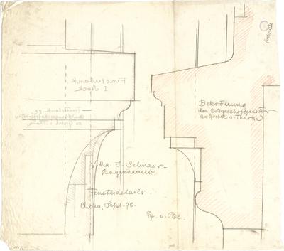 Pfann, Paul; München - Bogenhausen; Villa Jos. Selmayer - Bekrönung der EG - Fenster am Giebel u. Turm (Schnitte)