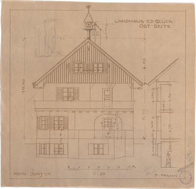 Pfann, Paul; Landhaus Zollinspektor Ed. Glück - Ostseite (Aufriss, Schnitt)