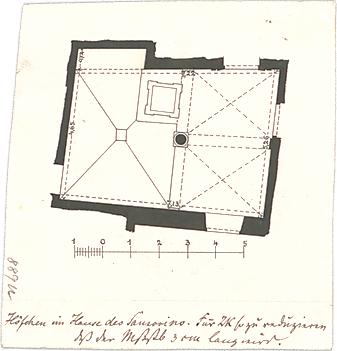 Stegmann, Carl von; Zeichnungen für Publikationen - Hof des Hauses des Sansorino (Grundriss)