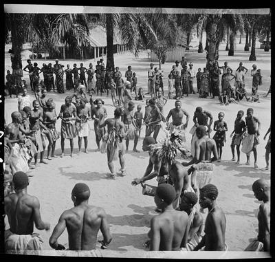 Drum players and dancers, Ewo (Midlle Congo)