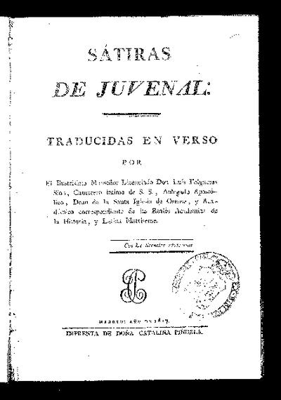 Sátiras de Juvenal / traducidas en verso por Luis Folgueras Sión