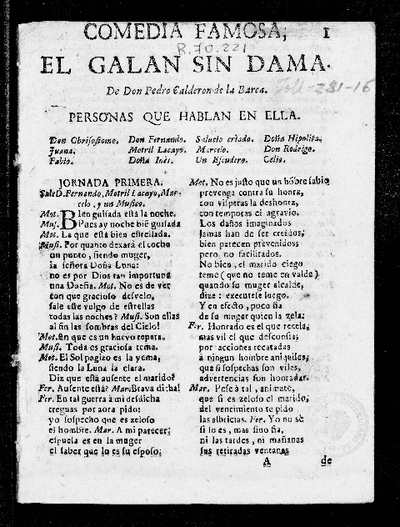El galan sin dama ... / Pedro Calderón de la Barca
