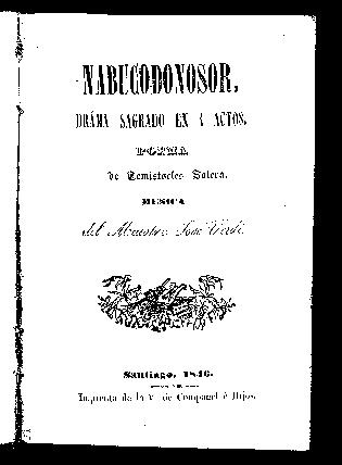 Nabucodonosor : drama sagrado en cuatro actos / poema de Temístocles Solera ; música del maestro José Verdi