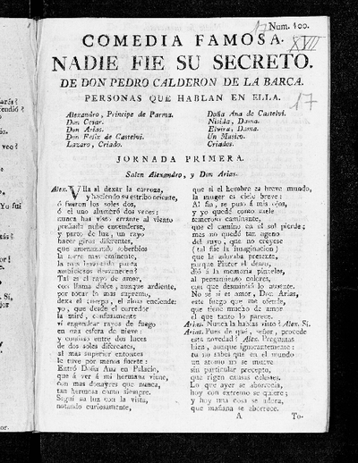 Nadie fie su secreto / de Pedro Calderón de la Barca