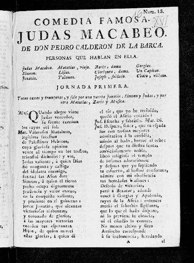 Judas Macabeo / de Pedro Calderón de la Barca
