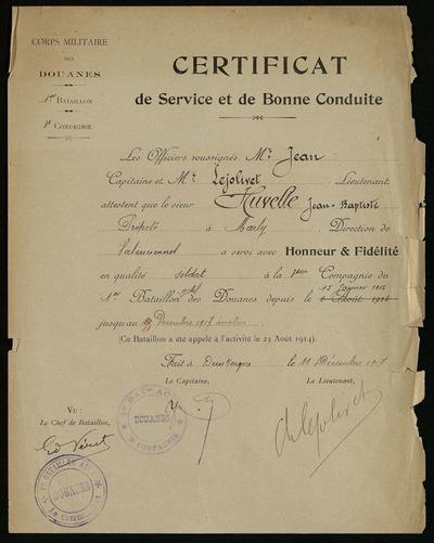 Certificat de service et bonne conduite