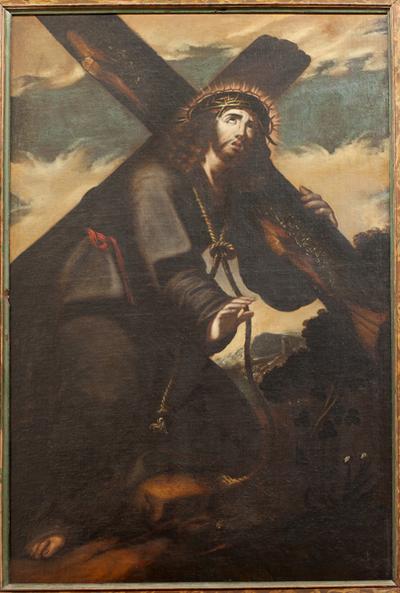 Caída de Jesús con la cruz. Oleo. S. XVIII