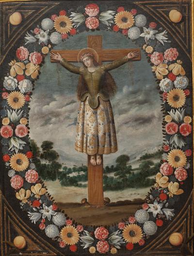 Sta. Librada crucificad. Anónimo. Óleo. S. XVII