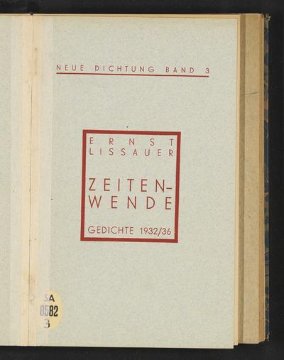 Zeitenwende :Gedichte 1932/36
