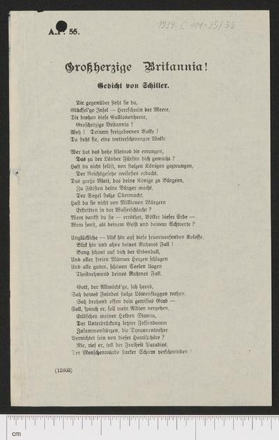 Großherzige Britannia! :Gedicht