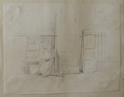 street-side book shop. Man in great coat and cap. Shutters for book stall other side of doorway leaning against rails