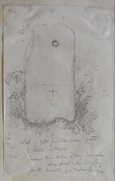 Slab of grit from the grave yard of Kells Abbey. ?... A very primitive sundial. The hole being for the insertion of a wooden ? June 1866