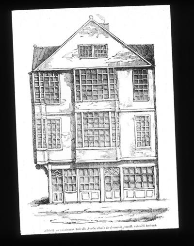 Print of old timber framed house on Castle Street, Dublin.
