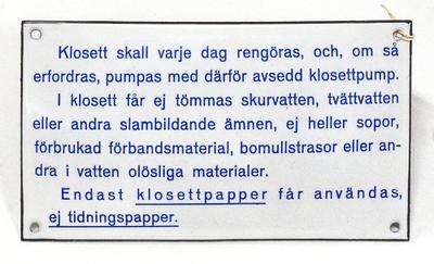 Instruktionsskylt för toaletten, från Sundby sjukhus