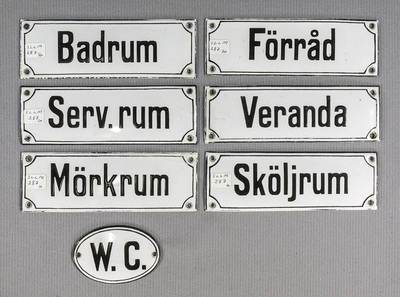 Emaljerade skyltar från Mälarsjukhuset i Eskilstuna