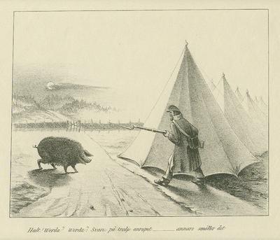 Litografi, skämtscen med soldat som under nattvakten hotar en gris