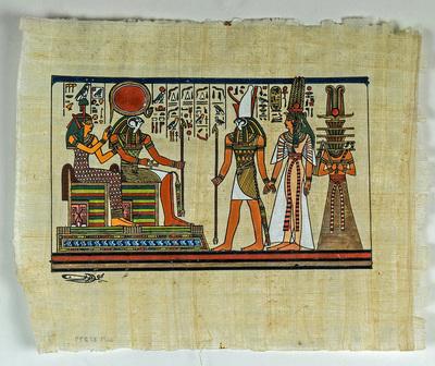 Målning på papyrus med egyptiskt motiv