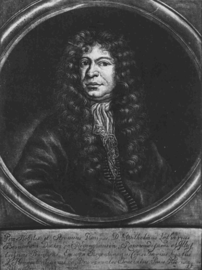 Wilhelm Lotharius Bernardus Ducker von Rodinghausen, gevolmachtigd afgevaardigde namens de bisschop van Straatsburg bij de Vrede van Nijmegen. Zwartekunstprent door Herman Hendrik de Quiter (1628-1708)