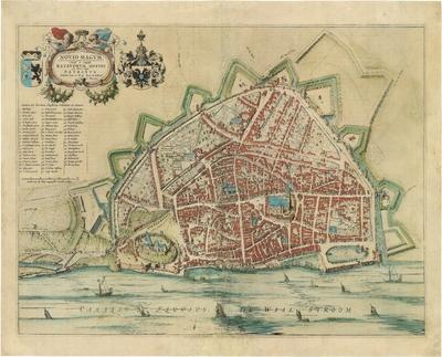 Plattegrond Nijmegen Vestingkaart Schaal [ca. 1: 3.000] Scala van 60 Nieu-Magensche Landt-roeden Joan Blaeu 1649.