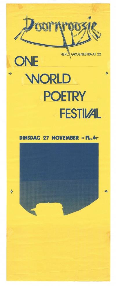 Promotie voor het One World Poetry Festival in Doornroosje op 27 november 1984.