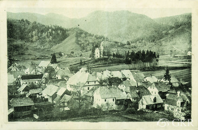 Gerovsko polje i naselje. Crno-bijela razglednica.