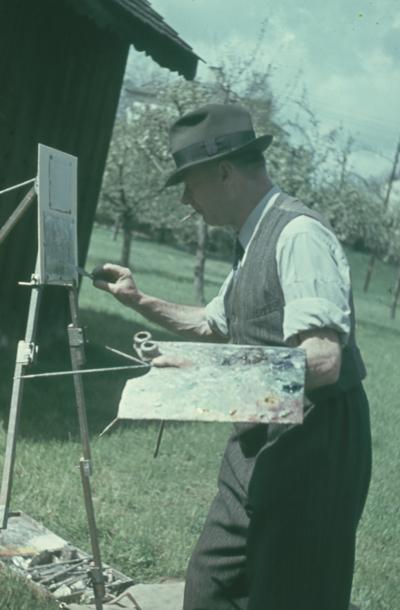 Otto Plattner beim Malen