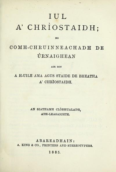 Iul a' Chriostaidh; no comh-chruinneachadh de naighean air son a h-uile ama agus staide de bheatha a' Chriostaidh