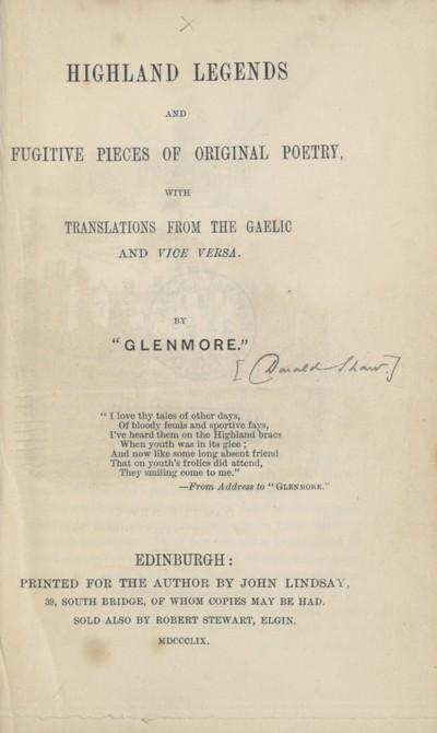 Highland legends and fugitive pieces of original poetry