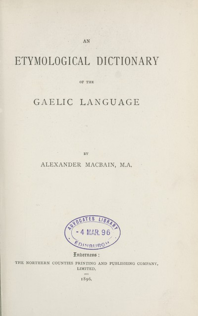Etymological dictionary of the Gaelic language