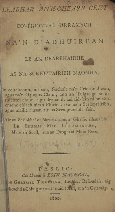 Leabhar aith-ghearr ceist co'-thionnal urramach na'n diadhuirean