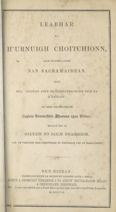 Leabhar na h'Urnuigh Choitchionn, agus frithealaidh nan sacramaidean