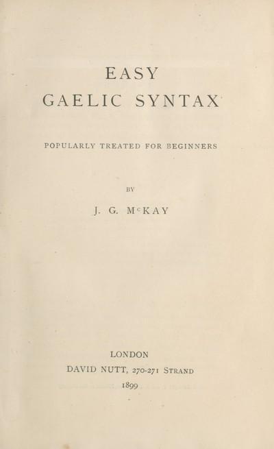 Easy Gaelic syntax