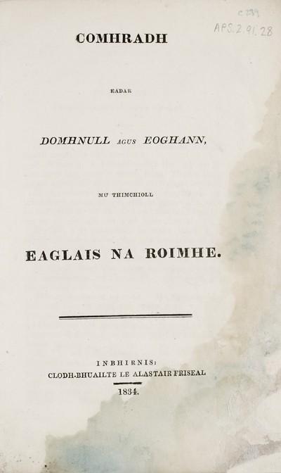 Comhradh eadar Domhnull agus Eóghann, mu thimchioll Eaglais na Ròimhe