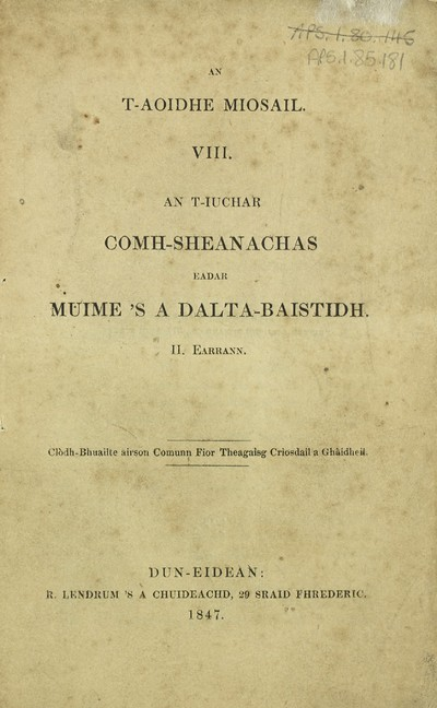 Books and other items printed in Gaelic from 1841 to 1870; 1847-1849 - T-aoidhe miosail; Part 8