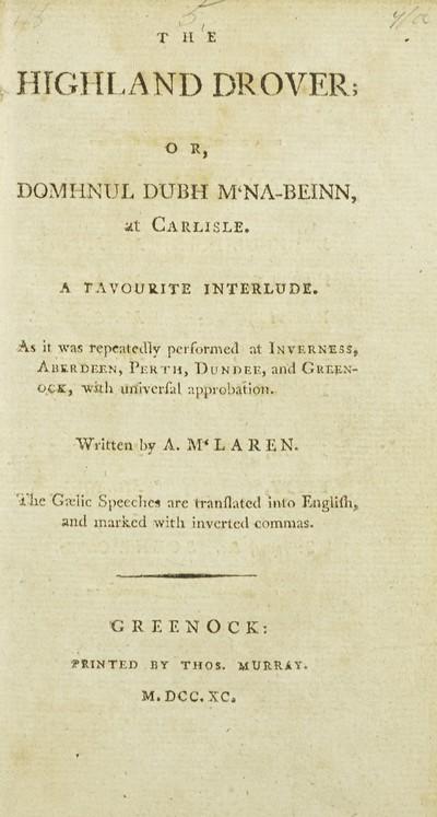 Highland drover; or, Domhnul dubh Mcna-beinn, at Carlisle