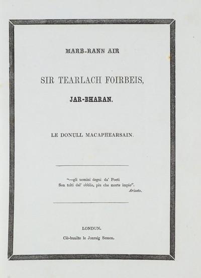 Marb-rann air Sir Tearlach Foirbeis, jar-bharan