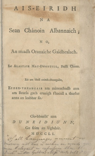 Ais-eiridh na sean chánoin Albannaich; no, An nuadh oranaiche Gaidhealach