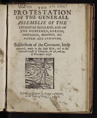 Protestation of the Generall Assemblie of the Church of Scotland, and of the noblemen, barons, gentlemen, borrowes, ministers and commons; subscribers of the Covenant, lately renewed, made in the high Kirk, and at the Mercate Crosse of Glasgow, the 28, and 29. of November 1638