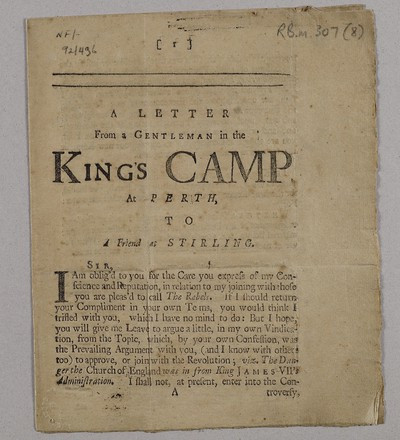 Letter from a gentleman in the King's camp at Perth to a friend in Stirling