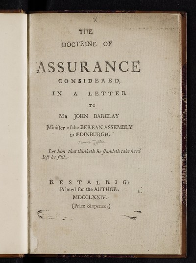 Doctrine of assurance considered